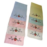 Set of 8 Embroidered Cocktail Napkins