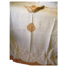 RARE 18 Ft. Madeira Linen Banquet Tablecloth w/ 20 Napkins