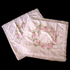 Pair of Vintage Hand Embroidered European Pillow Shams