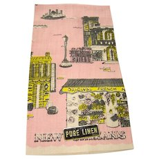 Vintage Souvenir of New Orleans Linen Kitchen Towel