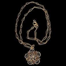 Art Nouveau 10K Gold Child's Necklace w/ Diamond