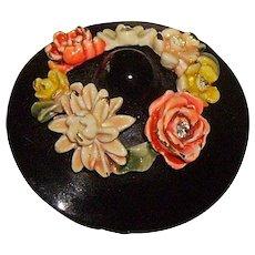 "Vintage BSK ""My Fair Lady"" Enamel & Rhinestone Hat Pin"