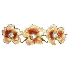 Art Nouveau Enamel Guilloche Flower Pin w/ Paste Stones