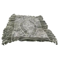 Beautiful Normandy Net Lace & Embroidery Bedspread