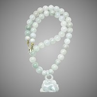 Carved Burmese Green Jade Rabbit, Jade, 14K Gold Necklace