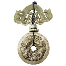 Vintage Chinese Coin and Jade Double Dragon Pendant Necklace