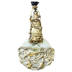 Carved Jade, Antique Chinese Finger Puppet and Ornament Pendant Necklace