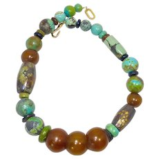 Natural Chinese Turquoise, African Amber Necklace