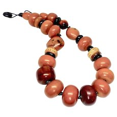 Vintage African Mali Amber, Vintage Indonesian Decorated Bone Necklace
