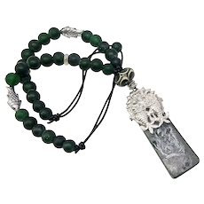 Green Etched Jade, Antique Chinese Silver Fish Pendant Necklace