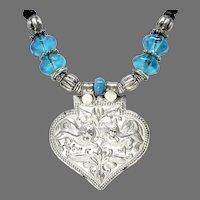 Old Silver Indian Amulet Pendant, Dutch African Vaseline Glass Pendant Necklace