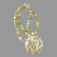 Carved Jade Dragon, Natural Aquamarine Necklace
