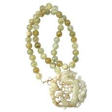 Carved Jade Dragon, Natural Aquamarine Necklace