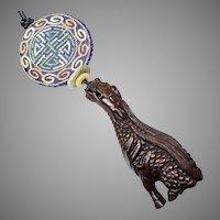 Carved Teak Dragon, Vintage Chinese Silk Medallion Pendant Necklace