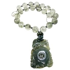Spinach Green Jade Dragon, Bats, Rutilated Quartz Necklace
