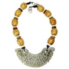 Vintage Jade Dragon, Ethiopian Singed Amber Necklace