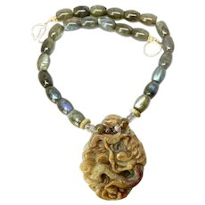 Carved Jade Dragon and Phoenix with Labradorite Necklace