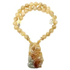 Hand Carved Golden Jade Ducks with Citrine Necklace