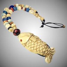 Carved Bone Fish Treasure Box With Multi Bead Necklace
