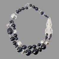 Vintage Sterling Silver Fork Handle with Vintage Silver and Black Onyx Necklace