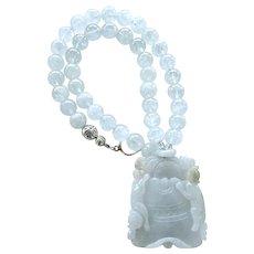 Carved Translucent Blue Jade Cats, Aquamarine Necklace