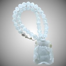 Carved Translucent Blue Jade Cats, Aquamarine Necklace