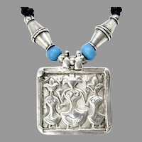 Antique Indian Silver Amulet Three Sisters Pendant Necklace