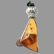 Vintage Golden Baltic Amber Sterling Silver Pendant Necklace