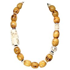 Carved Bone Chinese Netsuke, African Singed Amber Necklace