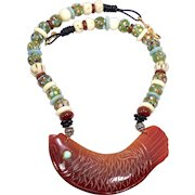 Carved Carnelian Fish with Indonesian and African Glass Beads Necklace