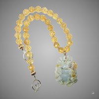 Hand Caved Blue Jadeite Jade Ram, Faceted Citrine Necklace