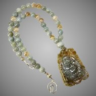 Carved Natural Jade Buddha with Aquamarine and Citrine Necklace