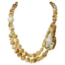 Carved Golden Jade Dragon, Golden Citrine Necklace