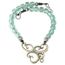 Kalimantan Silver Stylized Dragon, Indonesian Glass Necklace
