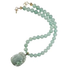 Carved Natural Green Jade Dragon, Aventurine Necklace