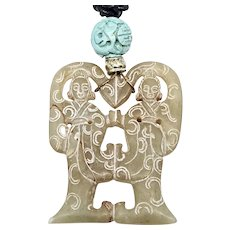 Old Carved Chinese Jade Women, Turquoise Pendant Necklace