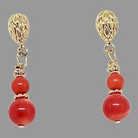 Enhanced Red Coral Drop Earrings