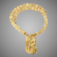 Carved Chinese Golden Jade Deer with Citrine Necklace