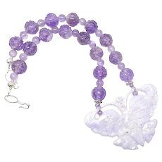 Dramatic Lavender Jade Butterfly and Amethyst Necklace