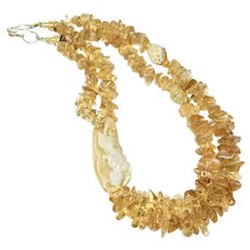 Carved Golden Jade Dragon and Bat with Citrine Necklace