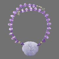 Rare Lavender Jade Dragons & Lotus with Amethyst Necklace