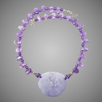 Rare Lavender Jade Dragons & Lotus with Amethyst Necklace