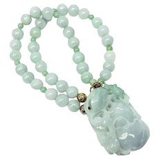 Hand Carved Natural Green Jade Frog, Gourd, Aquamarine Necklace