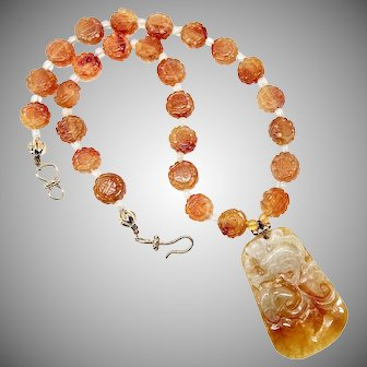 Hand Carved Jade Monkey, Carved Carnelian Necklace