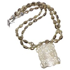 Old Indonesian Silver Snow Leopard with Faceted Double Strand Smokey Quartz Necklace