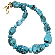 Natural Large Chinese Turquoise Nuggets Necklace