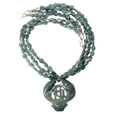 Carved Green Jade Double Fish with Green Apatite Necklace