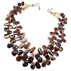Spectacular Fire Opal Agate Double Strand Necklace