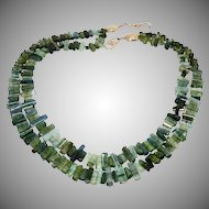 Gem Quality Green Tourmaline Drops Necklace
