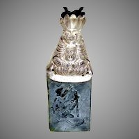 Antique  Chinese Silver Finger Puppet, Dark Green Etched Jade Pendant Necklace